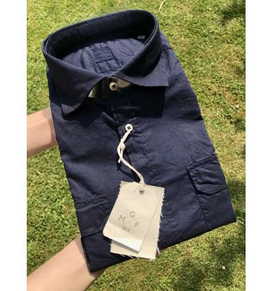 camicia cotone blu