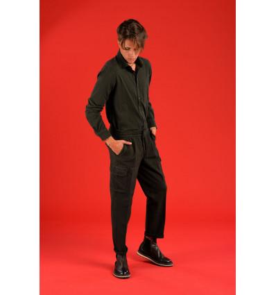 Pantalone cargo felpa quercia